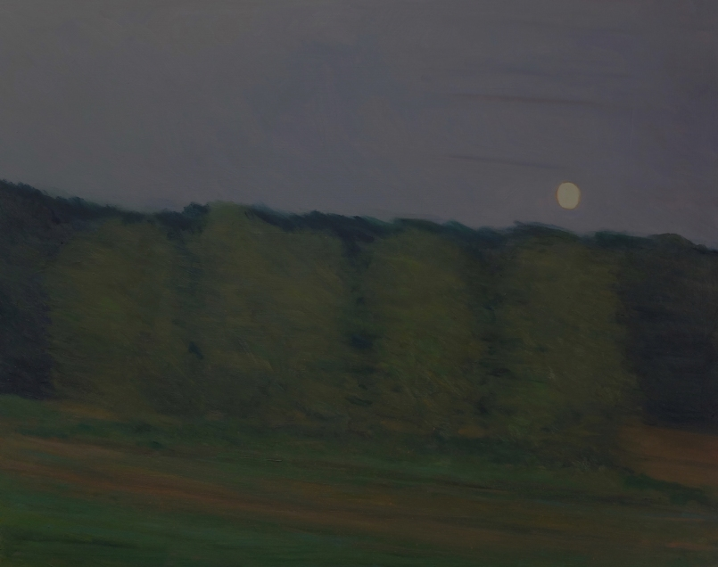 Tree island, narrowed moon, Richmond train, oil on panel, 24 X 30