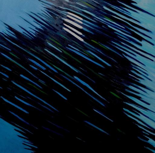 "Moon in tree, Glasgow train, oil on canvas, 36 X 36"", 2016"