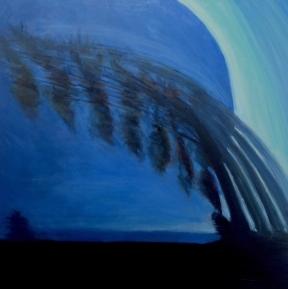 Retrograde tree, Richmond train, oil on canvas, 36 X 36