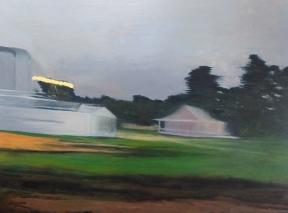 Streaming light, buildings, Richmond train, oil on panel, 30 X 40