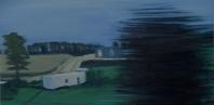 "7. Outside Edinburgh, farm house and trailer, Glasgow train, oil on canvas, 2016, 12 X 24"""