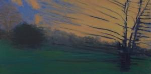 Setting sun, approaching Fredericksburg, Richmond train, oil on canvas, 12 X 24