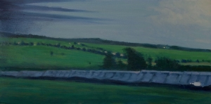 Line of sheds, white light, Glasgow train, oil on canvas, 12 X 24