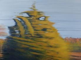 "Ghost, Richmond train, oil on panel, 30 X40"", 2016"