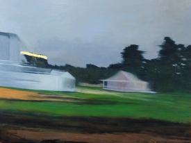 "Streaming light, buildings, Richmond train, oil on panel, 30 X 40"", 2016"