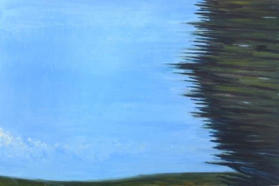 "Tree, speed, train to Richmond, oil on panel, 24 X 36"", 2016"